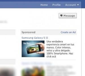 Publicidad del Samsung Galaxy S II en Facebook
